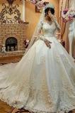 Vestido de novia Barco Iglesia Natural Cremallera Baja escote en V Apliques
