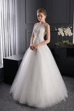 Vestido de novia tul Otoño Corte princesa Joya Espalda con ojo de cerradura