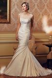 Vestido de novia vendimia Natural Sala Cola Capilla Corte Sirena Abalorio