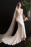 Vestido de novia Corte Sirena Escote en V Playa Natural Satén Capa de encaje