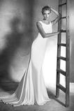 Vestido de novia Cremallera Natural Cola Barriba Corte Recto Joya Sin mangas