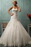 Vestido de novia Otoño Sin mangas Apliques Corte Sirena largo Cordón