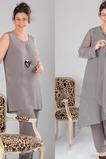 Vestido de madre traje de pantalones Natural Alto cubierto Gasa Escote Herradura 2 piezas
