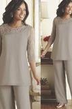 Vestido de madre traje de pantalones Manga de longitud 3/4 vendimia Rectángulo Alto cubierto