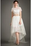 Vestido de novia Cremallera Moderno Asimétrico Dobladillo Camiseta Manga corta