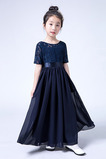 Vestido niña ceremonia Corte-A Verano Joya Hasta el suelo Manga corta Lazos