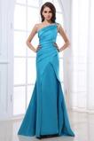 Vestido de noche Corte Sirena Plisado Invierno Satén Elástico Un sólo hombro