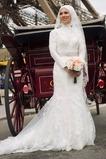 Vestido de novia Corte Sirena Escote con cuello Alto Iglesia Otoño Alto cubierto