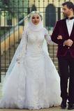 Vestido de novia Alto cubierto Escote con cuello Alto Encaje Clasicos