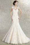 Vestido de novia Corte Sirena Manga corta Cola Capilla Natural Otoño