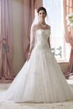 Vestido de novia Sin tirantes Con velo Natural Encaje Sin mangas Espalda Descubierta