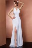 Vestido de fiesta Frontal Dividida Romántico Baja escote en V Gasa Escote halter