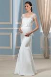 Vestido de novia Escote Cuadrado Imperio Cintura Lazos Playa Hasta el suelo