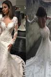Vestido de novia Elegante Corte Sirena Natural Mangas Illusion largo