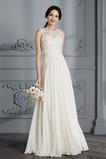Vestido de novia Elegante Capa de encaje Joya Corte-A Encaje Natural