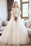 Vestido de novia Elegante Verano Natural Corte-A Apliques Escote con Hombros caídos
