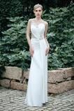 Vestido de novia Joya Plisado largo Gasa Corte Recto Sin mangas