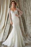 Vestido de novia largo Mangas Illusion Natural Cristal Encaje Espalda medio descubierto
