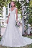 Vestido de novia Corte-A largo Botón Natural Verano Espalda Descubierta