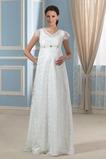 Vestido de novia Romántico Embarazadas Otoño Encaje Cremallera Hasta el suelo