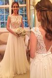 Vestido de novia Playa Lazos Cremallera Triángulo Invertido Encaje Corte-A