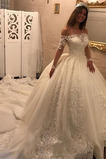 Vestido de novia Playa Corte-A Mangas Illusion largo Espalda con ojo de cerradura