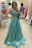 Vestido de fiesta Cola Barriba Corte-A Escote en V Colores Satén Elástico