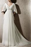 Vestido de novia Imperio Espalda Descubierta Escote en V Blusa plisada