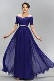 Vestido de noche Elegante Corte-A Gasa Hasta el Tobillo Natural Escote con Hombros caídos