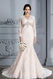 Vestido de novia primavera Cinturón de cuentas Capa de encaje Corte Sirena