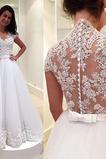 Vestido de novia Encaje Tallas pequeñas Manga corta Pura espalda Natural