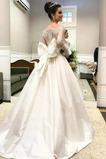 Vestido de novia Natural Escote con Hombros caídos Cola Corte Mangas Illusion