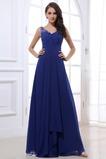 Vestido de noche azul real descubierto Plisado fantasía Escote en V