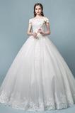 Vestido de novia Elegante Apliques Capa de encaje Escote con Hombros caídos
