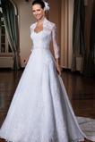 Vestido de novia Encaje Natural Corte-A Modesto Queen Anne Otoño