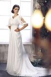 Vestido de novia Imperio Verano Gasa Cristal Escote en V Imperio Cintura