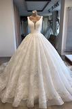 Vestido de novia Organza primavera Sin mangas Apliques Triángulo Invertido