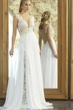 Vestido de novia Romántico Escote en V Corte-A primavera Apliques Pura espalda