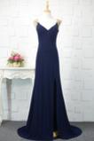 Vestido de noche vendimia Corte-A Escote en V Frontal Dividida Natural