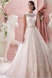 Vestido de novia Alto cubierto Joya Corte-A Cinturón de cuentas Apliques