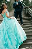 Vestido de novia Encaje Escote con Hombros caídos Sala Elegante Manga tapada