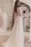 Vestido de novia Encaje Mangas Illusion Corte-A Capa de encaje Baja escote en V