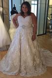 Vestido de novia Cola Capilla Tallas grandes Natural Cremallera Otoño