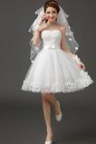 Vestido de novia Sin tirantes Falta Playa Verano Lazos Sin mangas