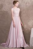 Vestido de noche Elegante Satén Drapeado Cordón Corte-A Barco