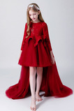 Vestido niña ceremonia Natural Manga larga Asimétrico Dobladillo Joya Cremallera