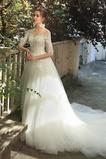 Vestido de novia Fuera de casa Capa de encaje Natural tul Apliques Joya