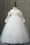 Vestido niña ceremonia Hasta el Tobillo Escote con cuello Alto Apliques Otoño