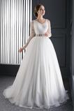 Vestido de novia Fajas largo Mangas Illusion Espalda con ojo de cerradura
