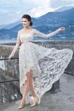 Vestido de novia Cordón Verano Alto Bajo Escote Cuadrado Manga larga
